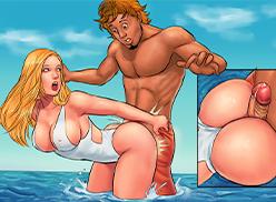 Sexo com a irmã na praia lotada